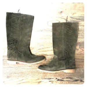 Lucky Brand Grayer green suede fringe boots 6.5